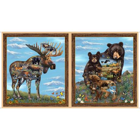 These creative bear and moose images contain vignettes of various wildlife within the animal itself on a background of bright blue skies and wildflower fields.
