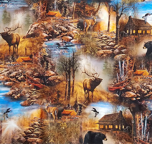 This fabric features log cabins, tents, evergreens, streams, rocks and wildlife such as geese, deer, bears and elk. Available at Colorado Creations Quilting