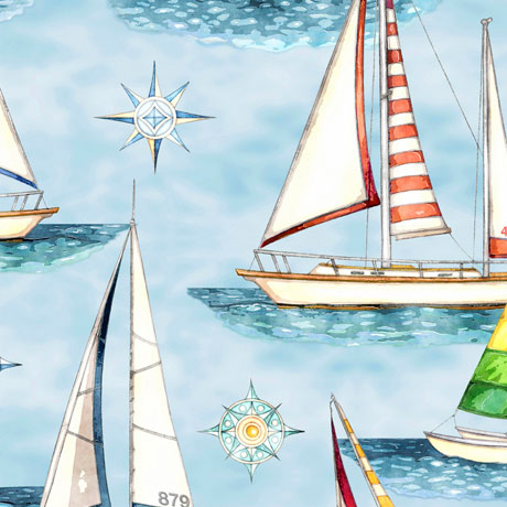 Brightly colored sailboats on blue water fabric