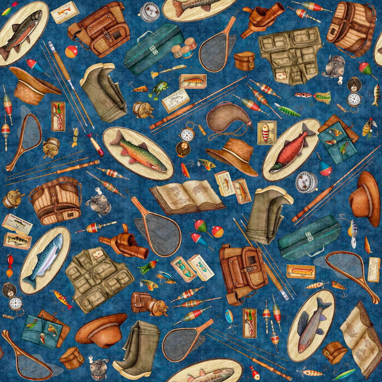 Fishing gear such as the reel, tackle box, waders, wicker basket on a blue background fabric available at Colorado Creations Quilting