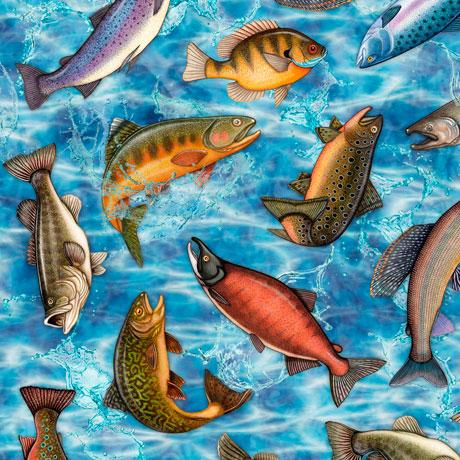 Fish such as bass and trout are depicted on a blue background