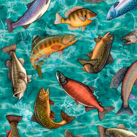 Fish such as bass and trout are depicted on a turquoise background