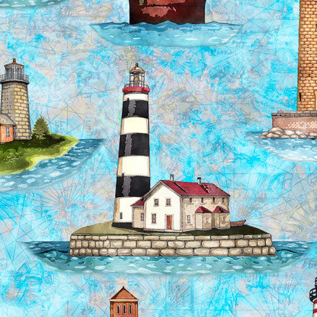 Brightly colored lighthouses on blue water fabric
