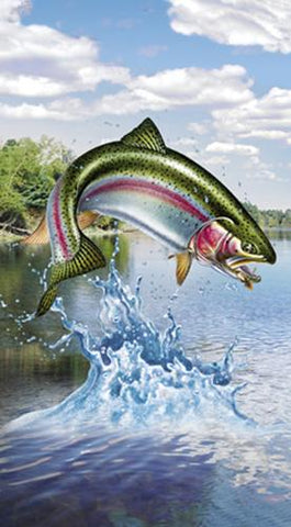 This  fabric panel featuring a rainbow trout jumping out of the stream to grab that fly. Available at Colorado Creations Quilting