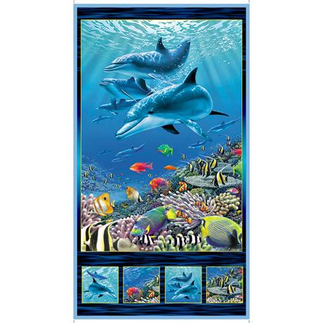 This fabric panel features gentle dolphins in aqua blue water, tropical fish and coral in rich eye-candy colors. Available at Colorado Creations Quilting