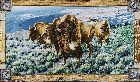 This panel features charging buffalo stampeding across the land trampling the native brush.