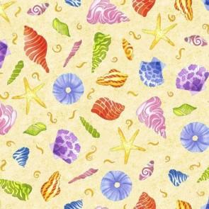 Multi-Colored Seashells on Cream Background fabric available at Colorado Creations Quilting