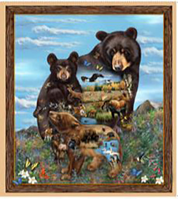 Fabric panel of 3 bears with inner vignettes depicting wildlife. Available at Colorado Creations Quilting