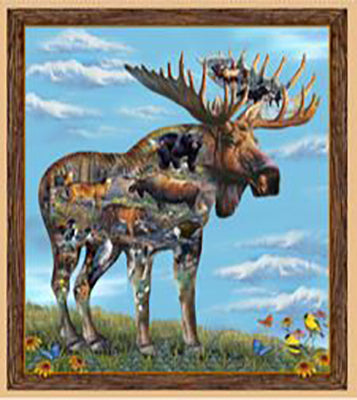Fabric panel of a majestic moose with inner vignettes depicting wildlife. Available at Colorado Creations Quilting