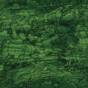 green tonal cotton fabric featuring forest images in a stained glass fashion available at Colorado Creations quilting