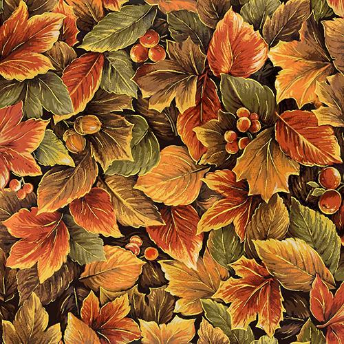 These packed maple leaves and acorns in rust, green and brown