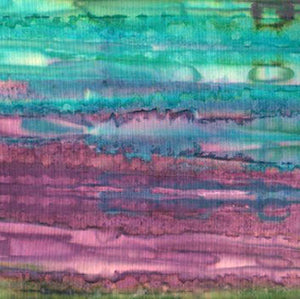 Striated Purple-Turquoise-Green Batik Cotton Fabric