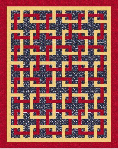 Quilt featuring entertwined red and cream squares on a background of blue by Colorado Creations Quilting