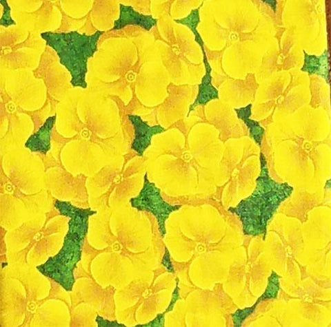 packed yellow primrose flowers cotton fabric