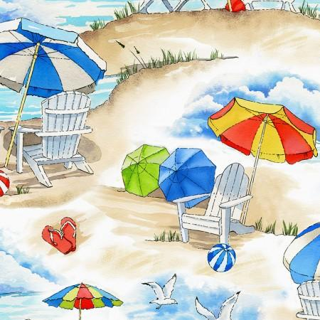 Images ofa day at the beach with blue skies, ocean, sandy beach, umbrellas, seagulls and beach balls.  Fabric available at Colorado Creations Quilting.