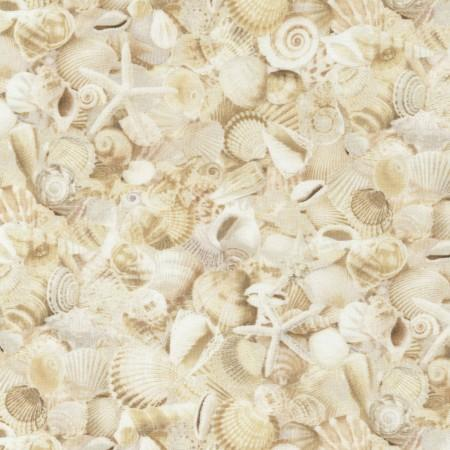 Images of packed cream-colored seashells.  Fabric available at Colorado Creations Quilting.