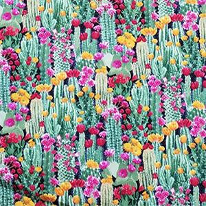 Cactus With Blooming Flowers Cotton Fabric