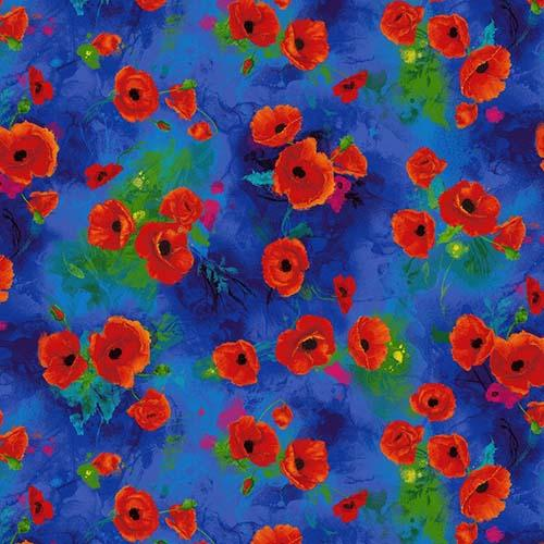 Vibrant red clusters of poppies on a rich royal blue background is the perfect coordinate for the I Dream of Poppies fabric panel. Available at Colorado Creations Quilting