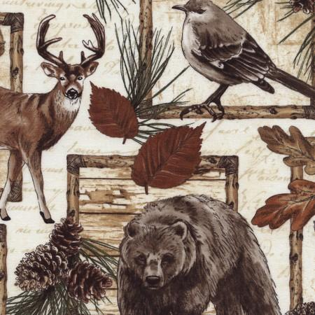 Images of deer, bear, moose, birds, pinecones, and oak leaves