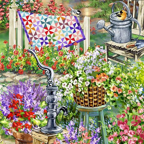 This garden has everything you'd expect in a cheery garden: flowers, garden path, watering cans, benches, and a wonderful pinwheel quilt hanging on the fence.