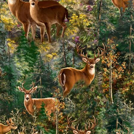 Brown deer and elk gaze at you as you have caught their attention. They're nestled among trees and wildflowers.