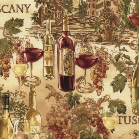 Wine bottles such as Merlot, Chardonnay and Pinot Noir among others are pictured with grape clusters and villas on a map of Tuscany in Italy.
