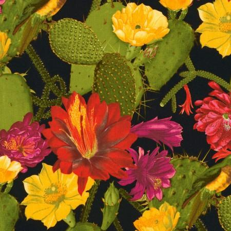 Cactus with blooming large flowers in shades of yellow, pink and red cotton fabric available at Colorado Creations Quilting