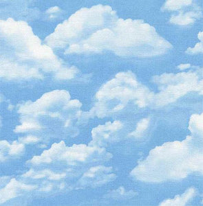 Light blue sky with large white clouds cotton fabric