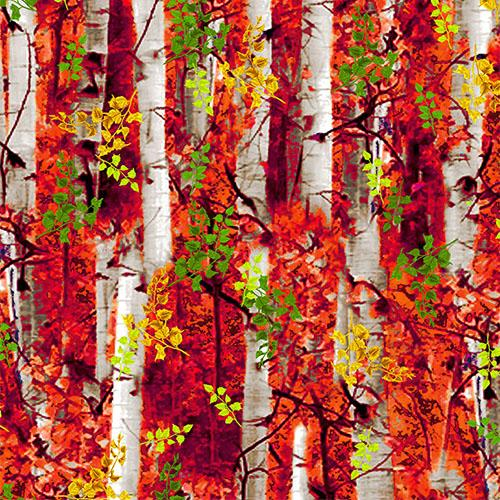 Trees, Birch or Aspen Tree with RedLeaves Cotton Fabric by Timeless Treasures and available at Colorado Creations Quilting