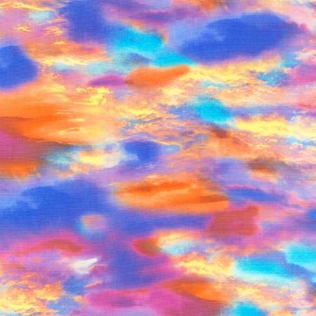 Sunset sky of blues, pinks and oranges