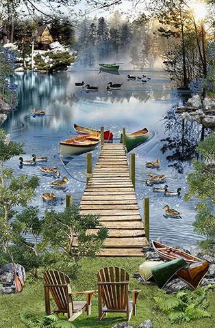 Lake with boats, chairs, trees and ducks