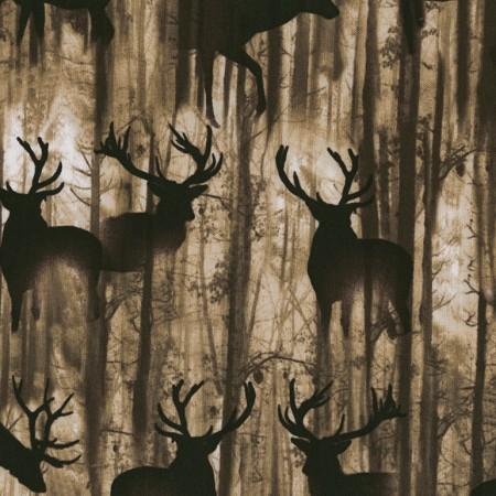 Images of brown elk silhouettes among the trees