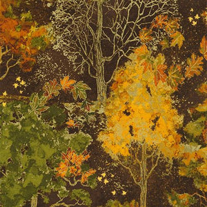 Fall trees with leaves of gold, rust and green on a brown background available at Colorado Creations Quilting