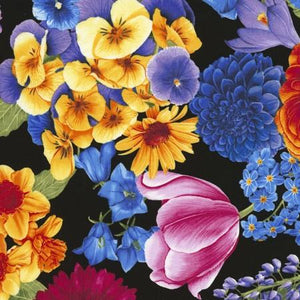 Brightly-colored flowers such as tulips, pansies, daffodils in all the colors of the rainbow available at Colorado Creations Quilting