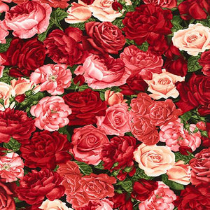Brightly-colored roses in pink and red fabric available at Colorado Creations Quilting