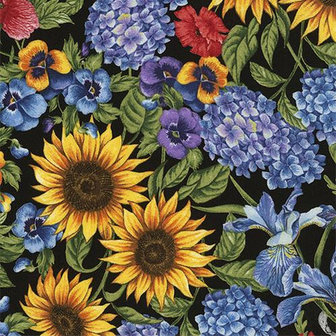 Sunflower, iris, pansy and hydrangea on black background