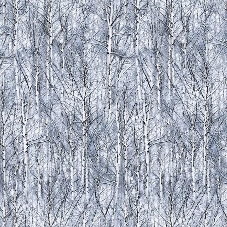 Cotton fabric featuring trees surrounded by  frost and snow. Available at Colorado Creations Quilting