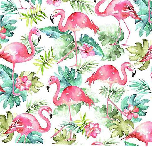 This cotton fabric features pink flamingoes on a white background.