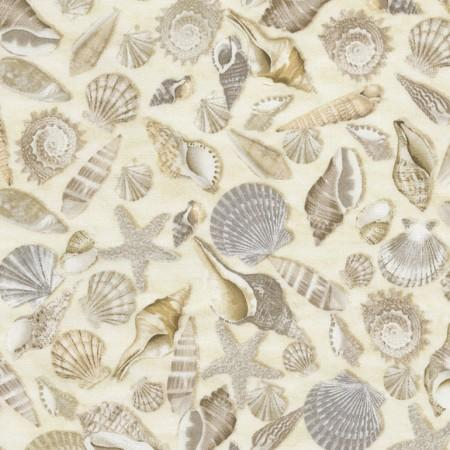 Images of cream-colored seashells.  Fabric available at Colorado Creations Quilting.