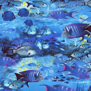 Images of tropical fish swimming on the ocean floor in shades of blue