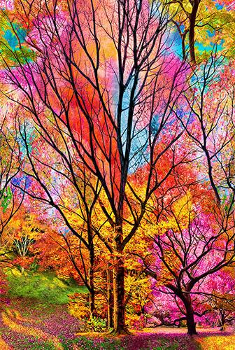 These trees are illuminated with the bright pastel leaves.  Be sure to include it in your next pictorial landscape quilt or as the center of your patchwork quilt