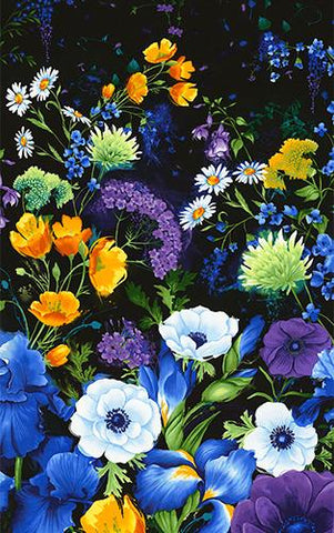 Features large flowers in blues and purples on a black background