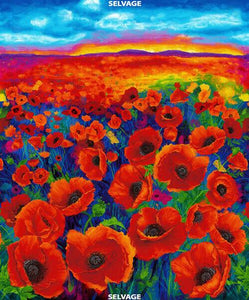 This digitally-printed panel features a field of large realistic poppies for as far as the eye can see.  They rest beneath a blue sky with a rich red sunset starting to form over distant purple mountains. Available at Colorado Creations Quilting