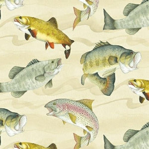 Fish like bass and trout on cream background