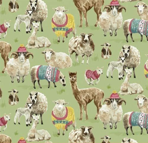 This cotton fabric features adorable alpaca and sheep in wooly sweaters on a light green background. Available at Colorado Creations Quilting