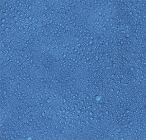 This cotton fabric features blue water with small water droplets. Available at Colorado Creations Quilting