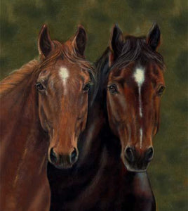This fabric panel features a pair of brown regal horses on a background of green.  Available at Colorado Creations Quilting