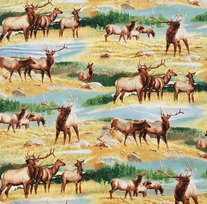 Realistic elk in their natural habitat are drinking from streams or bugling to protect their territory on a golden meadow cotton fabric.
