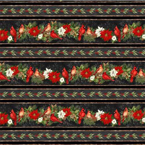 This striped fabric features cardinals, pine cones and pointsettias on a black background.  Available at Colorado Creations Quilting