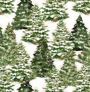 This cotton fabric features snow-covered fir trees on a cream background. Available at Colorado Creations Quilting